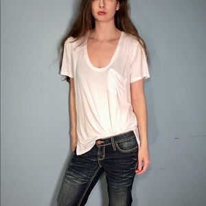 Free People We the Free White T Shirt/Tunic Size S