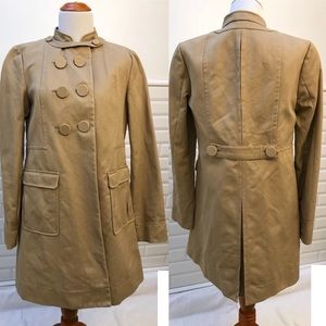 H&M Military Trench Collarless Jacket - Khaki