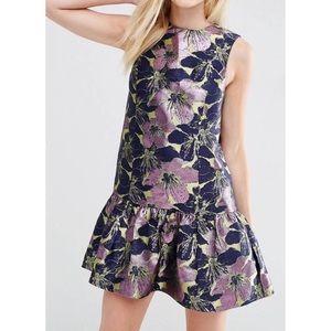 NWT ASOS Petite Jacquard Dress with Ruffle Hem