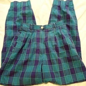 Vintage High waisted Green plaid trousers