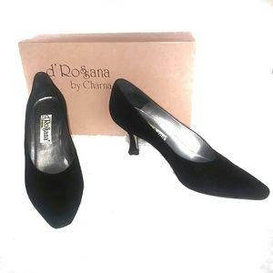 d'Rossana Vintage Designer Black Sparkle Heels