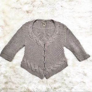 FREE PEOPLE Taupe Cropped Cableknit Sweater