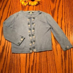 Hartstrings blue floral sweater cardigan. Size 3t