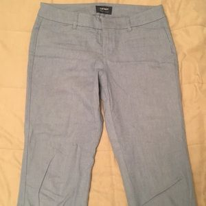 Mid-Rise Light Blue Cropped Pants