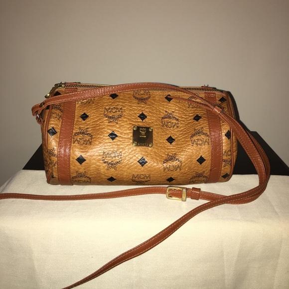 69e038687 MCM Cognac Vintage Visetos Canvas Crossbody Bag. M_5a0e5acdf092829bf4017eba