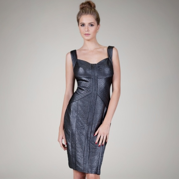 Size M Tadashi Shoji Pleated Metallic Jersey Sheath Dress