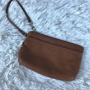 Coach Wristlet • Saddle Brown Genuine Leather