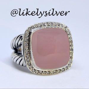 David Yurman Cabochon Rose Quartz w/ Diamond Ring