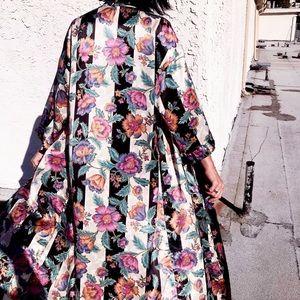Vintage Floral Boho Silky Kimono Maxi Robe Coat