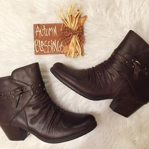 Shoes - Faux leather studded strap booties