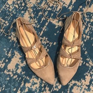 B Brian Atwood Gray Grey Sanaa Flat Lace-Up Shoes
