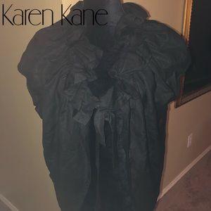 🚨Karen Kane Black Linen Ruffle Crop Jacket