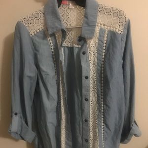 Xhilaration Chambray shirt with lace detail