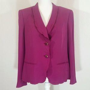 Escada Fushcia Silk Size 42 Blazer #115