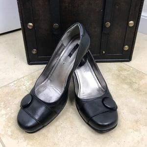 Ecco Leather Pumps Heels Button Toe