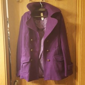 Large purple peacoat