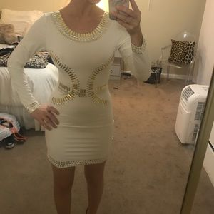 Dresses & Skirts - White beaded bodycon dress