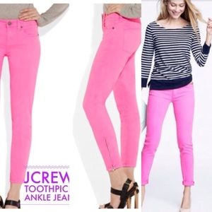J. Crew hot pink Toothpick skinny 30 ankle jeans