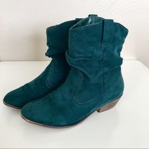 Faux Suede Teal Green Booties