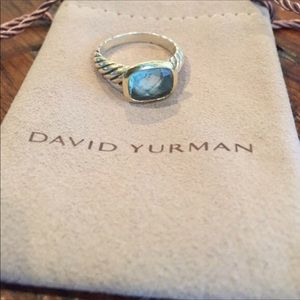 David Yurman blue topaz cable ring