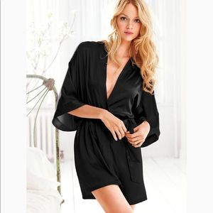 Victoria Secret Black Silk Robe