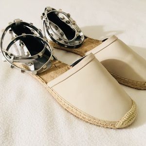 Stone + Silver Studded Leather Espadrilles