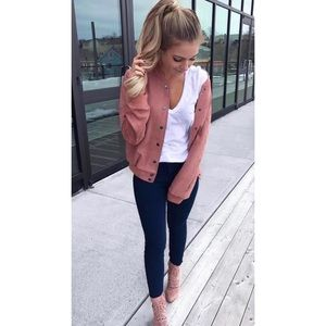 Jackets & Blazers - 'Ride With Me' Pink Suede Bomber Jacket