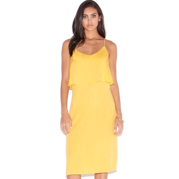 034f272b2f9ca NWT JustFab Ruffle Front Tank Midi Dress in Yellow