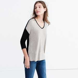 MADEWELL anthem colorblock long-sleeve v-neck tee