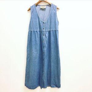 Vintage denim chambray corduroy maxi dress