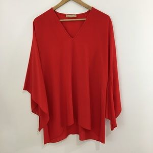 Michael Kors red silk angled bell sleeves small
