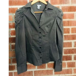 🆕H&M Olive Green Blouse with Ruched Sleeves