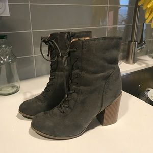 Like new gray heeled combat boots