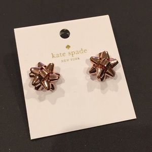 Kate Spade Rose Gold Present Bow Studs