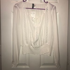 H&M White Long Sleeve Crop Top (NEW)