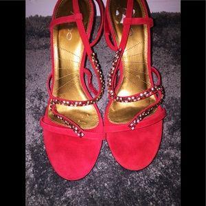 Red Suede ALDO Heels with Rhinestones