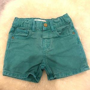 Zara Baby Boy Teal Denim Shorts 9-12 months