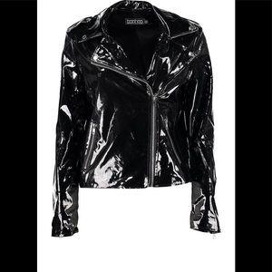 Boohoo Jemma Vinyl Biker Style Jacket. SIZE US M