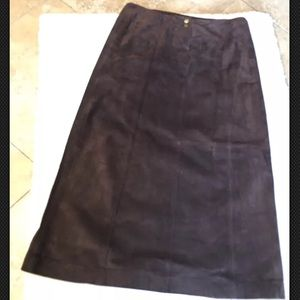 Ralph Lauren 100% Solid Leather Lined Maxi Skirt