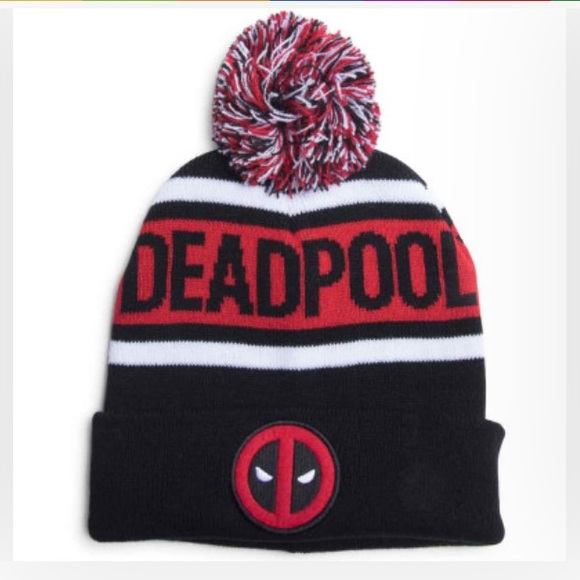 "8ae3b3025d172 ""NWT"" Deadpool Pom-Pom knit cap - Marvel"