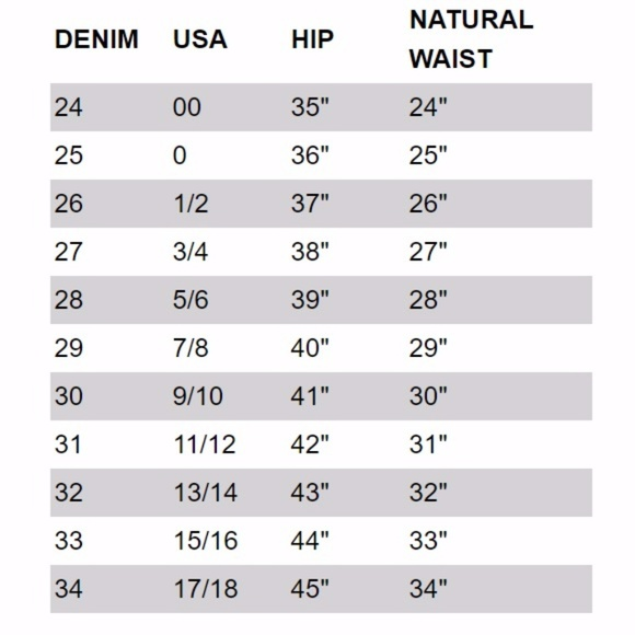 jeans size guide