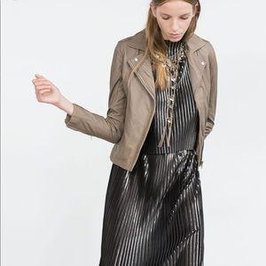 Zara taupe leather jacket