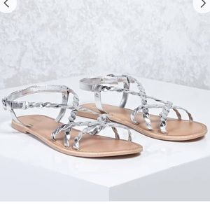 Metallic Braided Genuine Leather Sandals