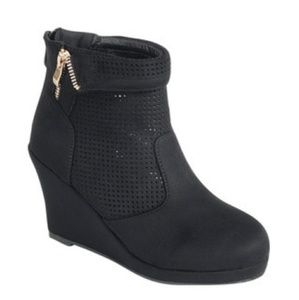 Black Faux Suede, Wedge Bootie w Perforated Shaft,