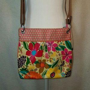 Bright Floral upcycle mixed media crossbody purse