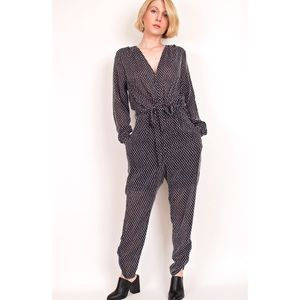 H&M blue textured print surplice jumpsuit