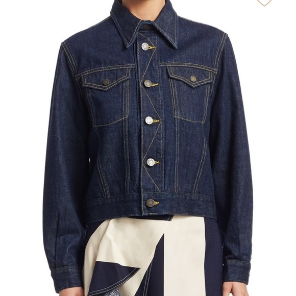 competitive price most reliable exquisite design Calvin Klein, dark blue jean jacket white bottons