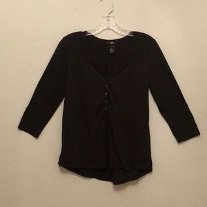 Black Henley 3/4 Sleeve Blouse