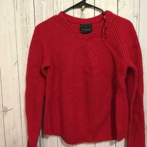 Cynthia Rowley Cable Knit Sweater Red Holiday