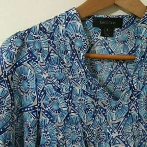 Karen Kane printed silk blouse top